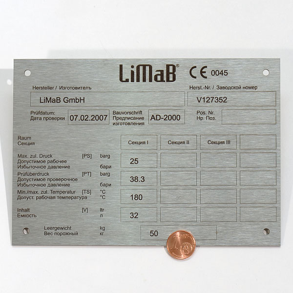 Type labels and nameplates of stainless steel